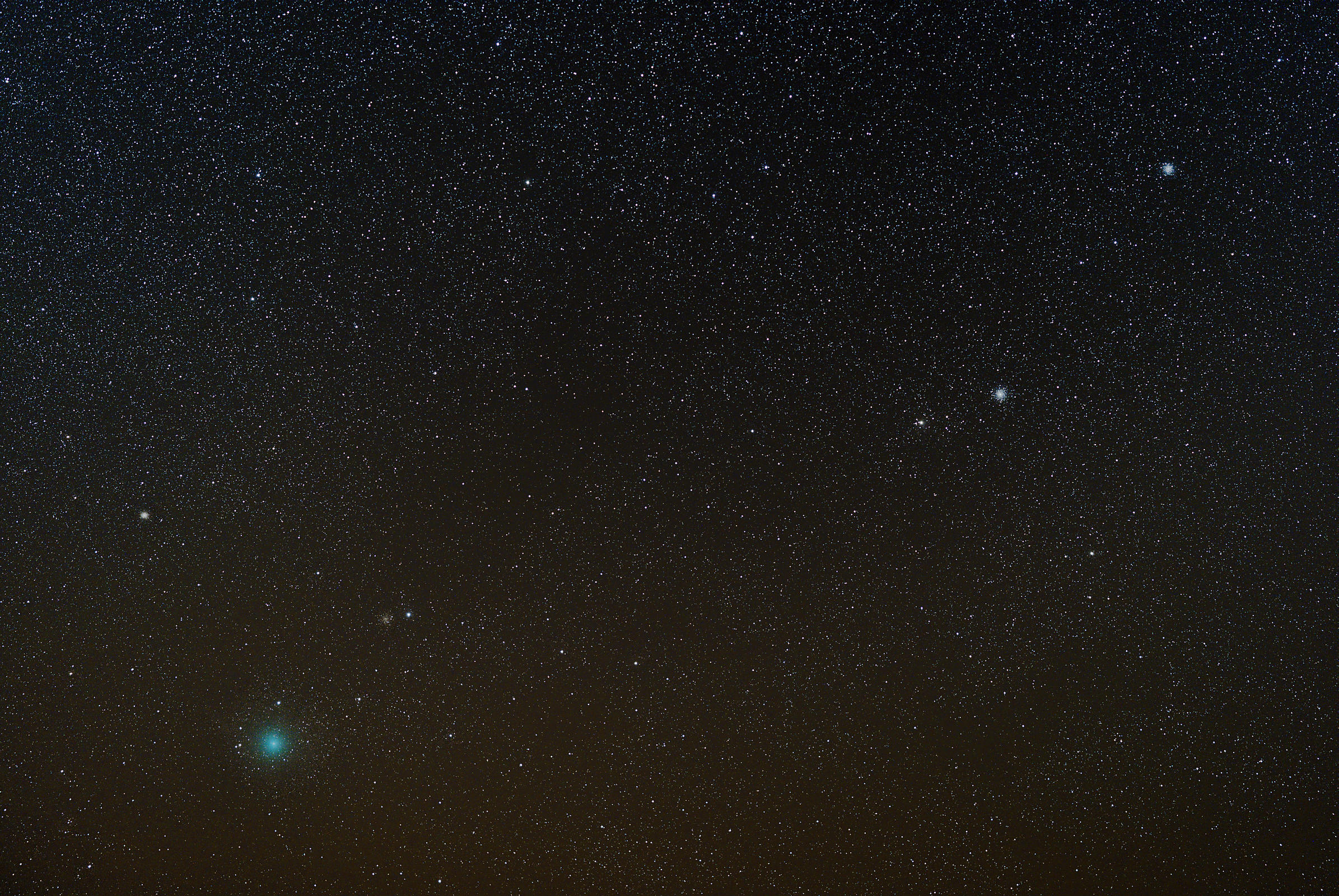 Comet 252/P and Globular Clusters M 10, M 12, M 14 and NGC 6366 photographed in Southern Finland on April 4 2016.