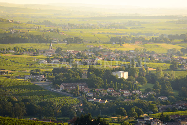 Village of Saint Etienne des Oullieres with his vineyards in Beaujolais Land, France