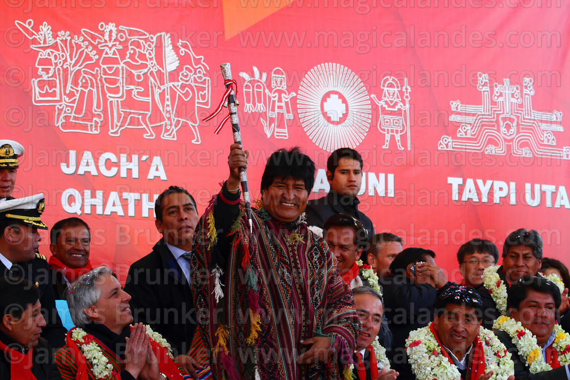 Bolivian president Evo Morales holds a traditional baton of command during the inauguration ceremony of the Red Line cable ca...