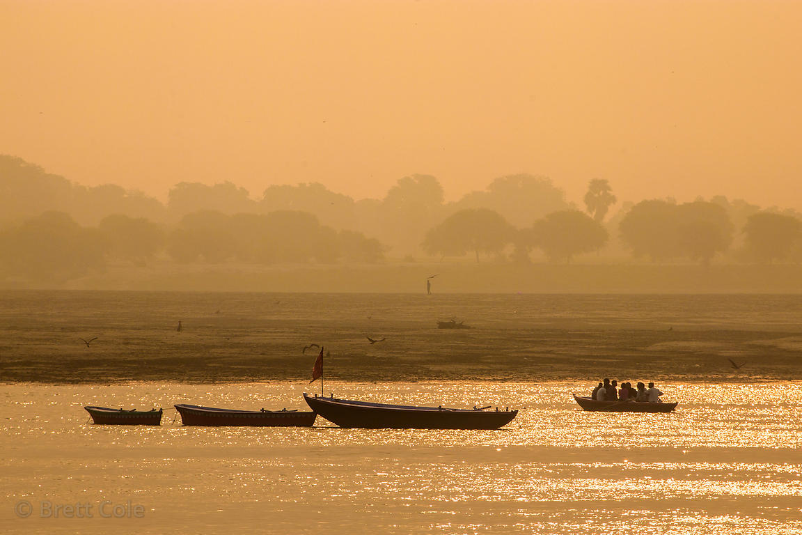 Boats ply the golden Ganges River at sunrise, Varanasi, India