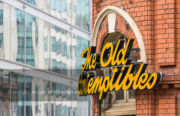 The Old Contemptibles pub, Birmingham City Centre with Interchange Place in the background. Colmore Business District, Birmin...