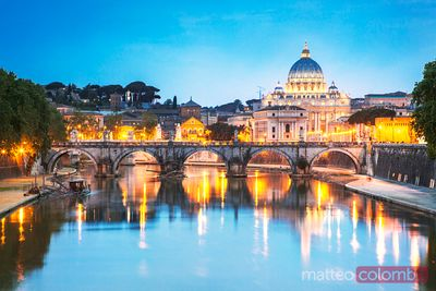 St Peter's basilica and bridge over Tevere at dusk, Rome