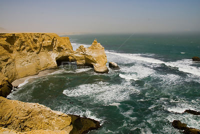 'La Cathedral' Rock formation, Paracas National Park, Peru, 6th August 2007, days before the Earthquake and Tsunami of 15-08-...