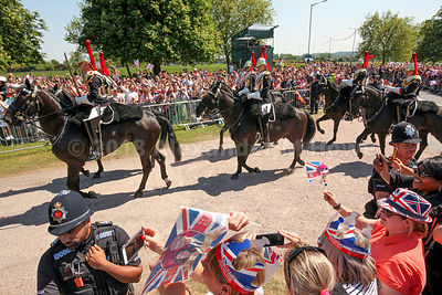 Soldiers from the Household Cavalry Regiment accompanying Harry and Megham during their carriage ride in Windsor