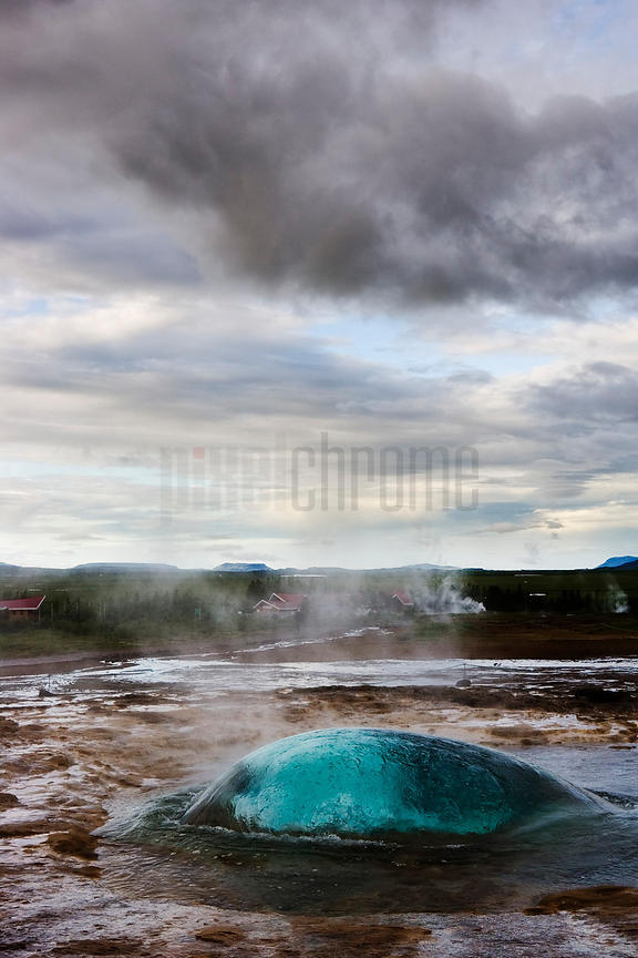 Geyser Strokkur (the Churn) about to erupt, Geysir, Iceland