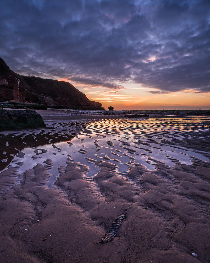 Ripples in the sand and seaweed in superb dawn light - Orcombe Point Exmouth, Devon, UK.