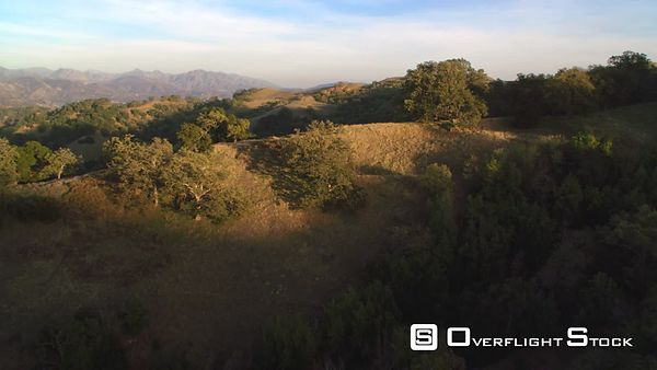 Close Flight Over Brushy Rounded Hills in the San Gabriel Mountains, California.