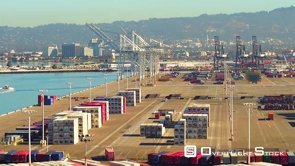 Aeria View Port Middle Harbor Shoreline  San Francisco Bay and the Port of Oakland
