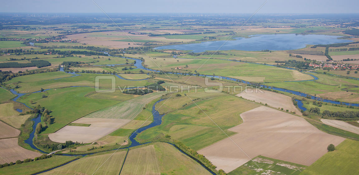 Aerial view of the River Havel close to the lake Guelper See. Brandenburg, Germany, August 2009.