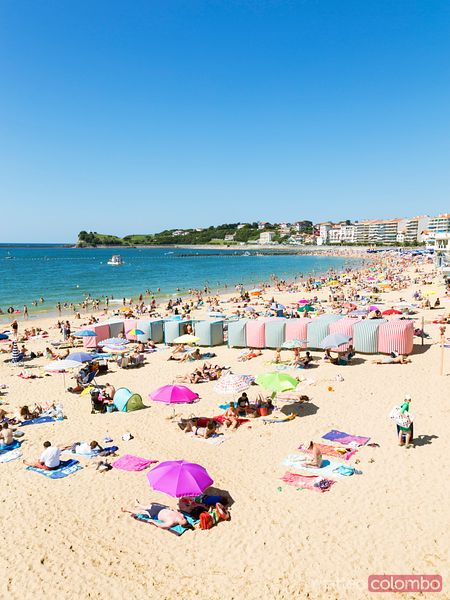 Beach crowded with tourists, french Basque country, France
