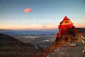 The old ski hut on Mt Chacaltaya at sunrise, Bolivia