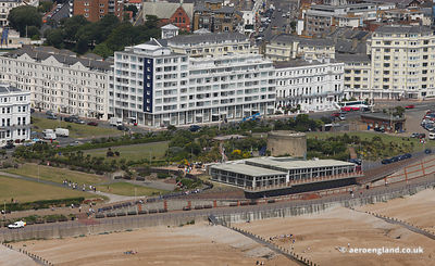 aerial photograph of the seafront at Eastbourne  England UK