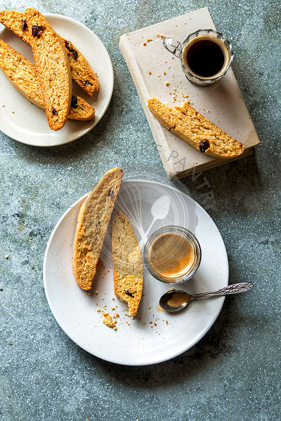 Italian biscotti and a cup of coffee on a plate