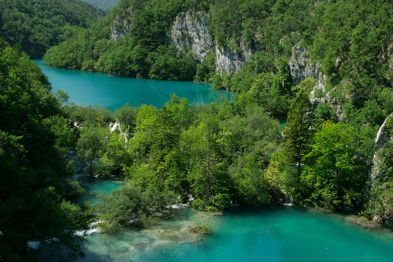 Aerial view of Lakes of Plitvice National Park, Croatia, May 2005