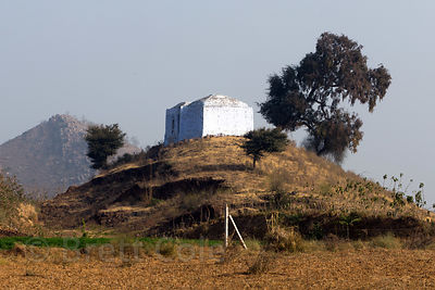 300 year old hilltop temple set amongst wheat and mutter (pea) farms, near Bhagwanpura village, Rajasthan, India