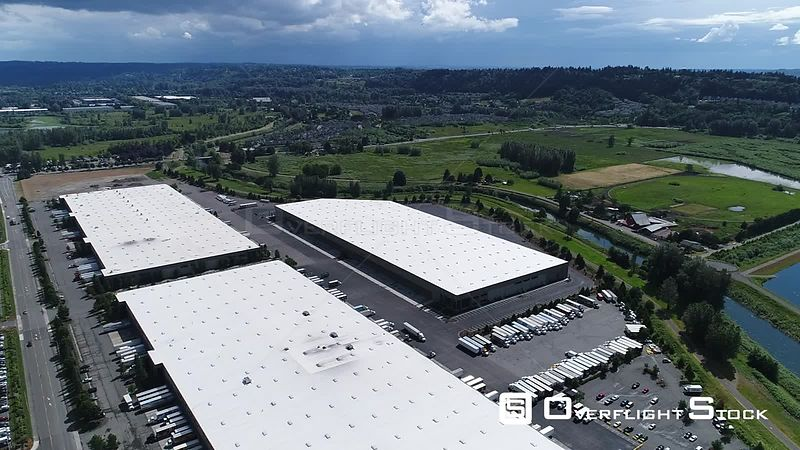 Drone Video of Warehouse Complex Kent Washington