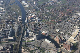 Manchester high level view of the Western Gateway of Manchester and the River Irwell Crossing point of the Ring road Regent r...