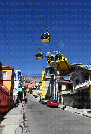 Yellow Line cable car gondolas and station in Sopocachi, La Paz, Bolivia