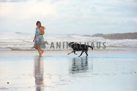 Girl running in water with dog at beach