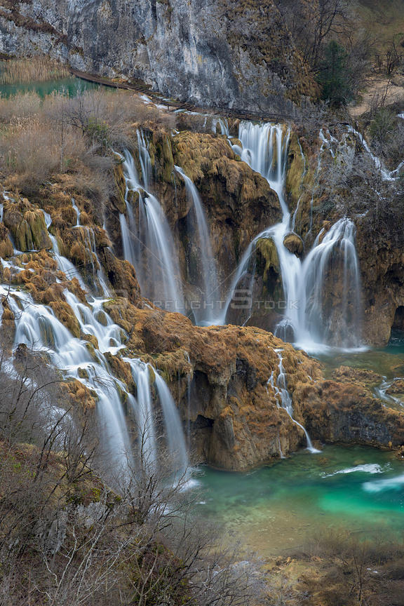 Series of waterfalls knowm as 'Sastavci' that cascade between mountain lakes, Plitvice Lakes National Park, Croatia. January ...
