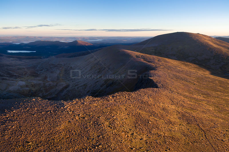 Cairngorm mountain and Stob coire an t-sneachda in morning light, Cairngorms National Park, Scotland, October 2016.