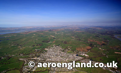 aerial photograph of Ulverston Cumbria England  UK