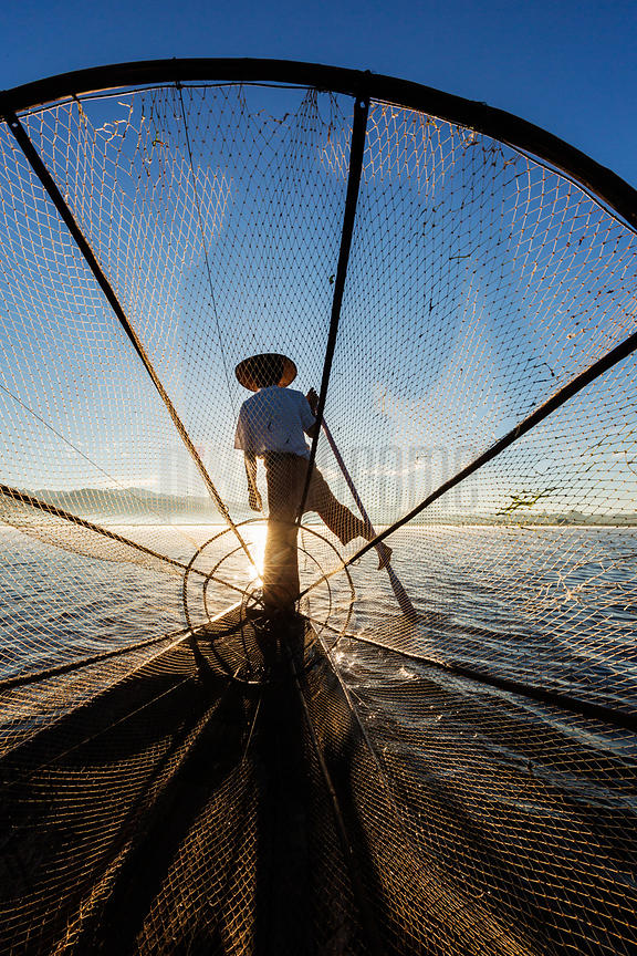 Leg Rowing Fisherman on Inle Lake at Sunrise
