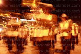 Brass band at night, San Benito church in background , Chutillos festival, Potosí, Bolivia