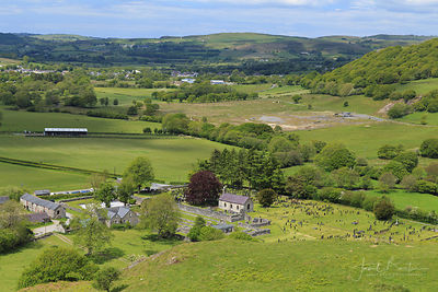 Strata Florida abbey & St Mary's Church, looking down the Teifi valley
