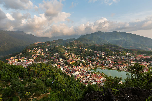 Elevated View of Sapa at Sunrise