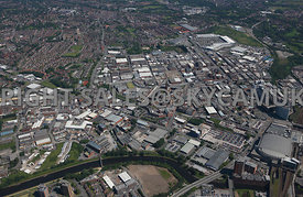 Manchester High Level View of Cheetham Hill Industrial Estate and Strangeways