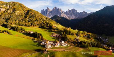 Aerial pano view of Funes, Dolomites, Italy