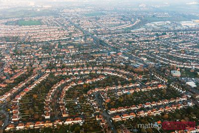 Aerial view over residential area, Sutton, England