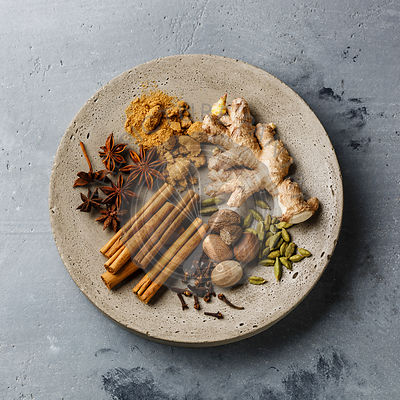 Spice Ingredient - .allspice, anise star, cardamon, cinnamon stick, ginger root, nutmeg - for Mulled wine hot drink on concre...