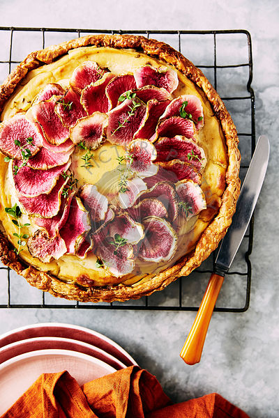 Cauliflower and roasted fennel  tart, topped with watermelon raddish.