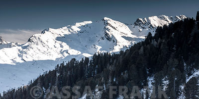France, Snowcapped mountains, elevated view