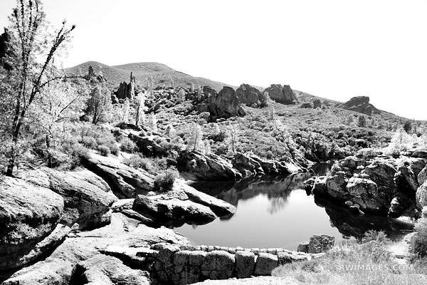 BEAR GULCH RESERVOIR PINNACLES NATIONAL PARK CALIFORNIA BLACK AND WHITE