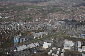 Widnes high level aerial photograph looking across Earle Rd towards the Ashley retail park and Ashley Way towards the town ce...