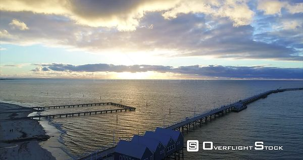 Busselton Jetty Pier on Indian Ocean Drone Video Western Australia