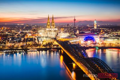 City skyline at night, Cologne, Germany