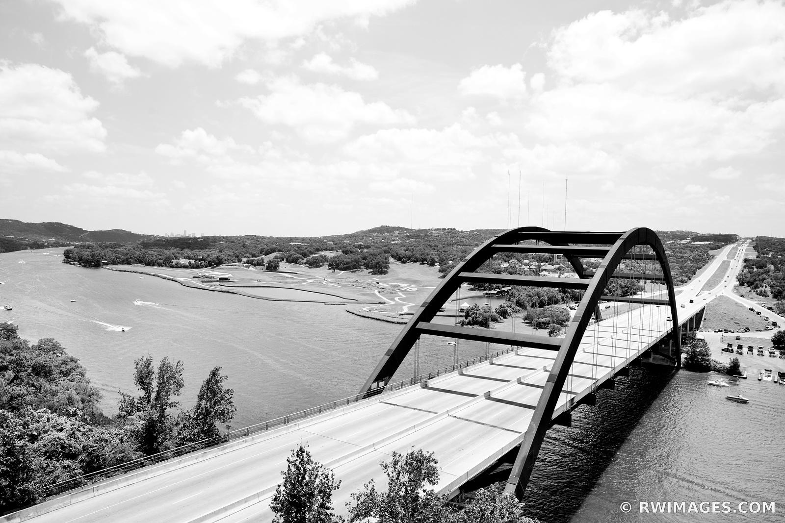 PENNYBACKER BRIDGE AUSTIN TEXAS BLACK AND WHITE
