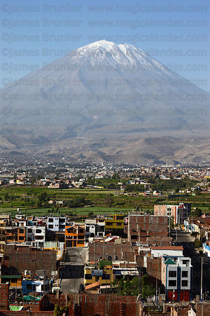 El Misti volcano and outskirts of Arequipa , Peru