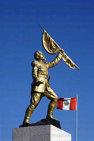 Statue of Colonel Francisco Bolognesi and Peruvian flag , Tacna , Peru