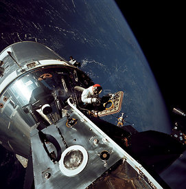 Gumdrop Meets Spider --  March 6, 1969 -- This image, taken on March 6, 1969, shows the Apollo 9 Command and Service Modules ...