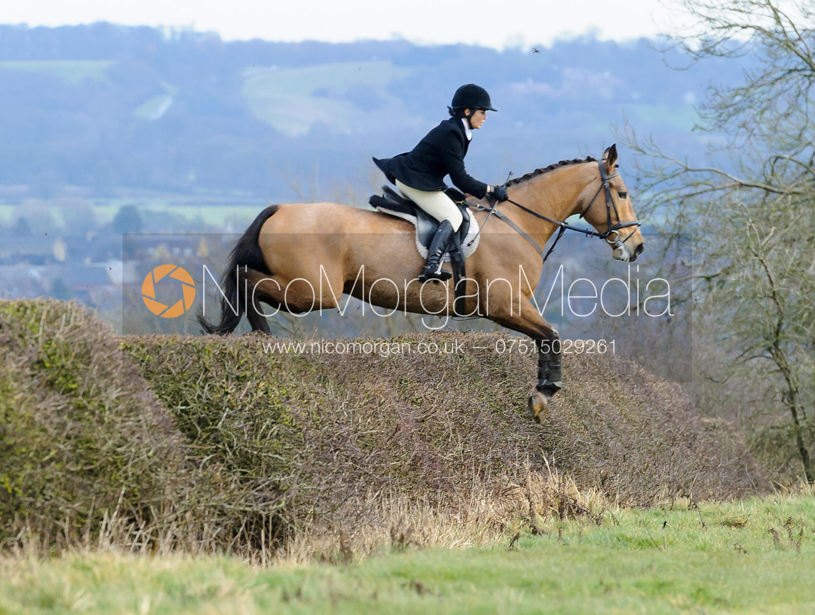 Anna Hanson jumping a hedge above Wilson's covert