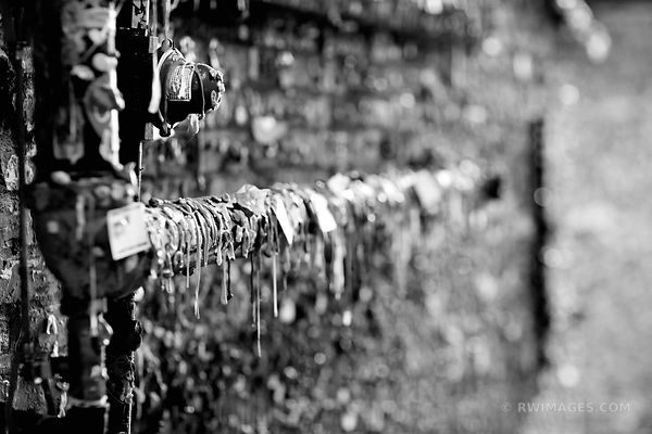MARKET THEATER GUM WALL POST ALLEY SEATTLE BLACK AND WHITE