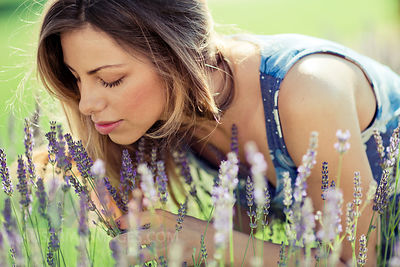 Young Woman In Lavender Field, Portrait, Island Hvar, Croatia, Europe