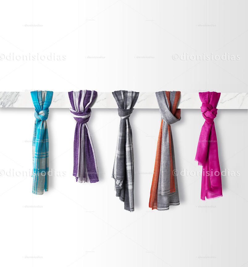 Cashmere scarves on white background