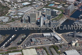 Manchester high level view showing the BBC Media City Granada ITV showing the Coronation Street  Studios Salford Quays