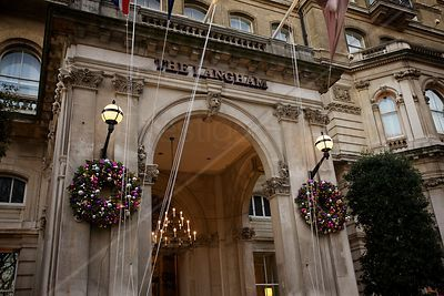 Outside The Langham Hotel London at Christmas